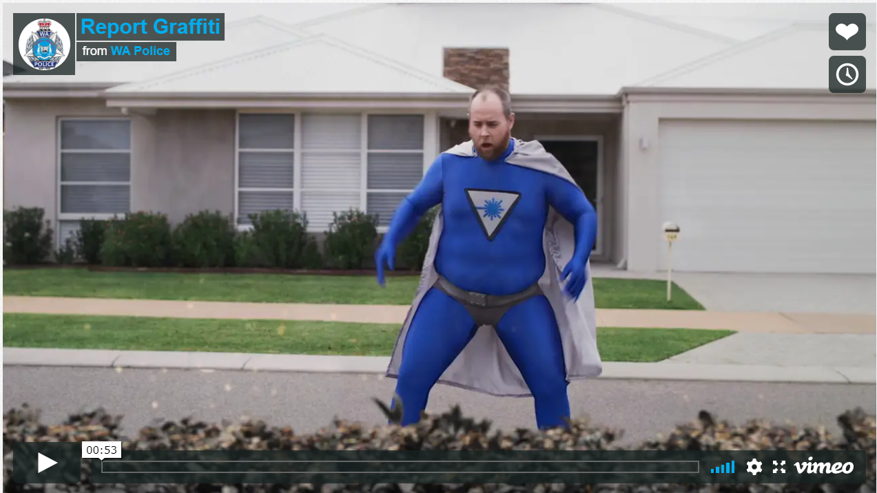 Still image of man dressed as superhero.  Taken from the new video from WA Police - report graffiti