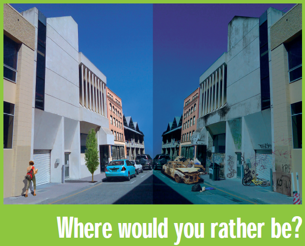 Where would you rather be? Picture of street with and without graffiti.
