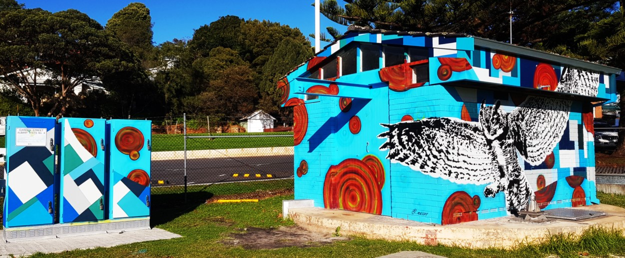 Watercorp cabinets at Middleton Beach with colourful artwork.